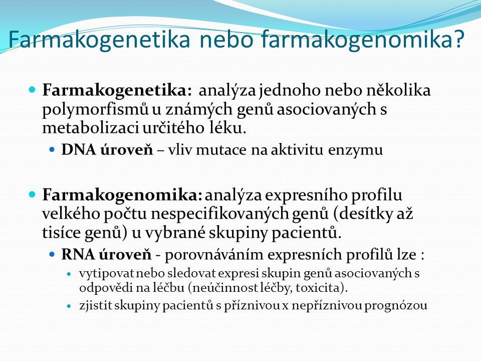 Farmakogenetika nebo farmakogenomika? Farmakogenetika: analýza jednoho nebo několika polymorfismů u známých genů asociovaných s metabolizaci určitého