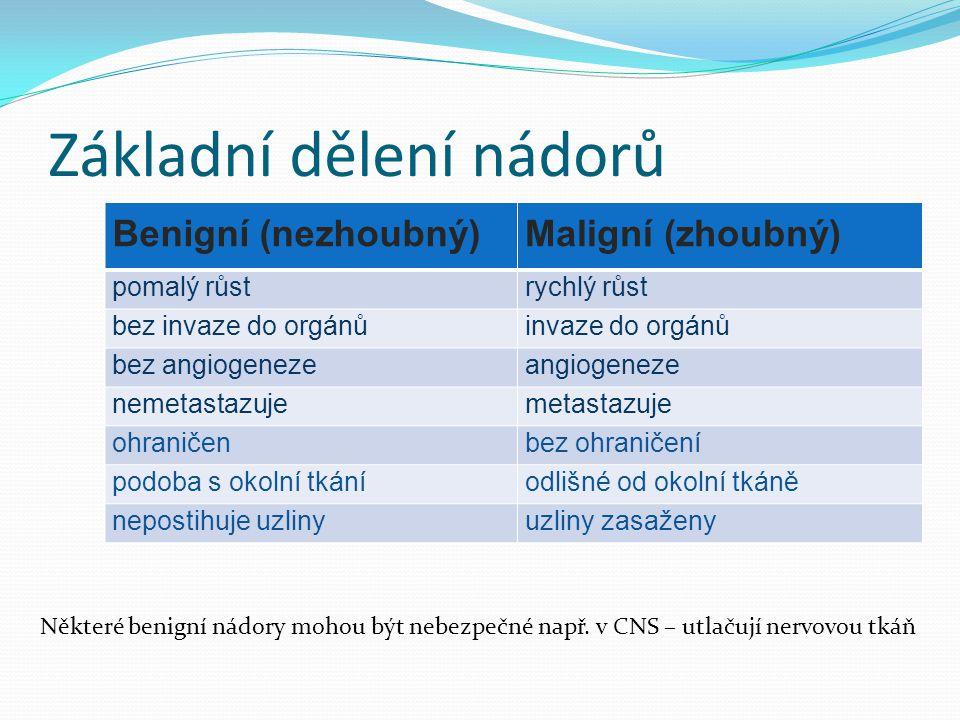 Základní dělení nádorů Benigní (nezhoubný)Maligní (zhoubný) pomalý růstrychlý růst bez invaze do orgánůinvaze do orgánů bez angiogenezeangiogeneze nem