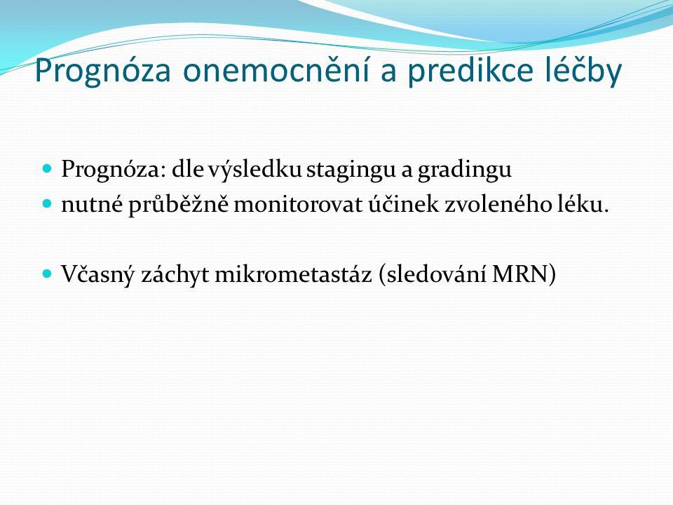 Prognóza onemocnění a predikce léčby Prognóza: dle výsledku stagingu a gradingu nutné průběžně monitorovat účinek zvoleného léku. Včasný záchyt mikrom
