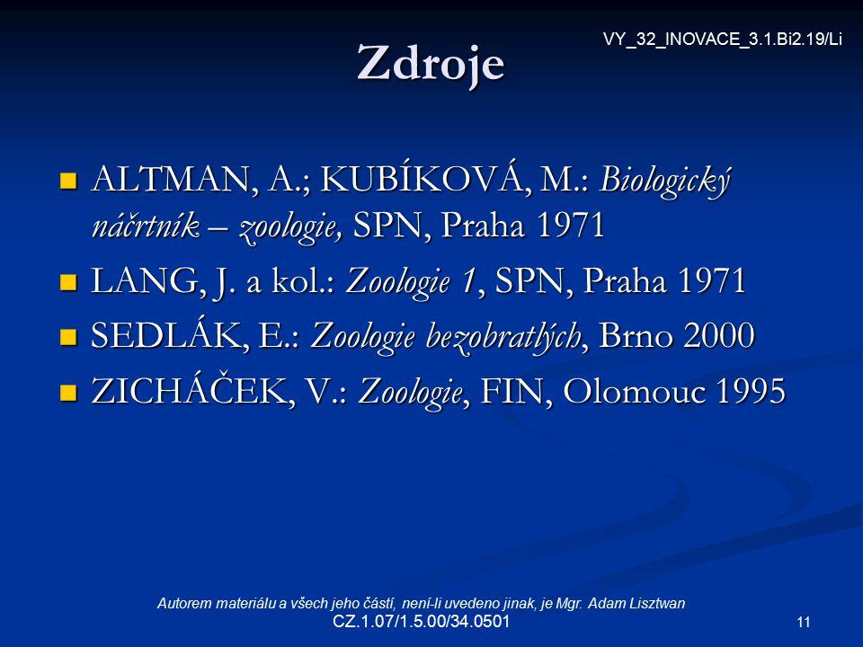 11 Zdroje ALTMAN, A.; KUBÍKOVÁ, M.: Biologický náčrtník – zoologie, SPN, Praha 1971 ALTMAN, A.; KUBÍKOVÁ, M.: Biologický náčrtník – zoologie, SPN, Pra