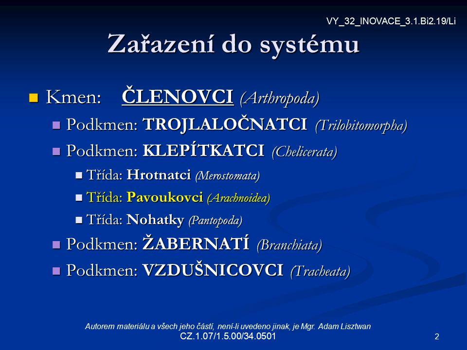 2 Zařazení do systému Kmen:ČLENOVCI (Arthropoda) Kmen:ČLENOVCI (Arthropoda) Podkmen: TROJLALOČNATCI (Trilobitomorpha) Podkmen: TROJLALOČNATCI (Trilobi