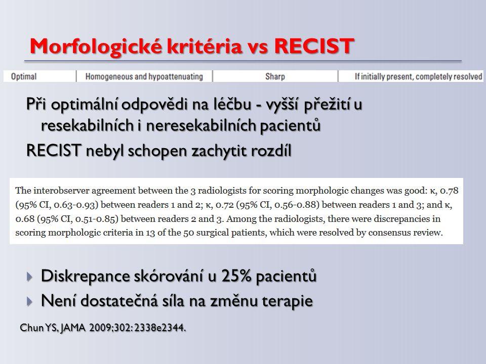 Morfologické kritéria vs RECIST Při optimální odpovědi na léčbu - vyšší přežití u resekabilních i neresekabilních pacientů RECIST nebyl schopen zachyt