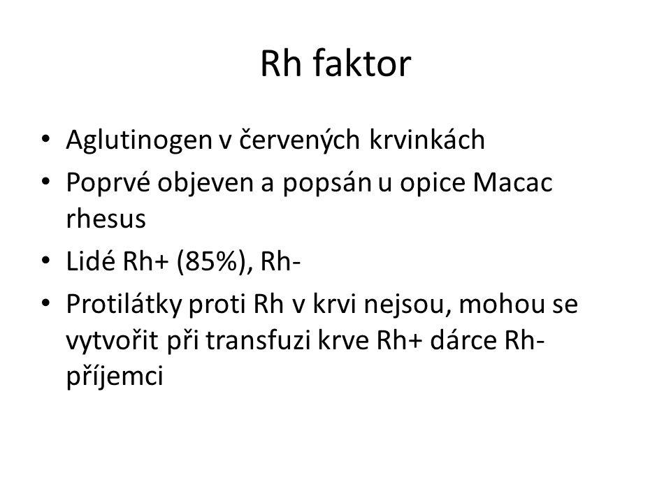 Rh faktor Aglutinogen v červených krvinkách Poprvé objeven a popsán u opice Macac rhesus Lidé Rh+ (85%), Rh- Protilátky proti Rh v krvi nejsou, mohou