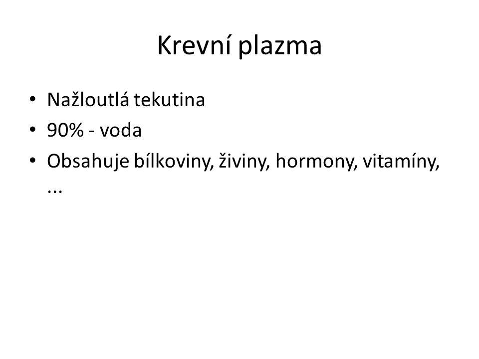 Krevní plazma Nažloutlá tekutina 90% - voda Obsahuje bílkoviny, živiny, hormony, vitamíny,...