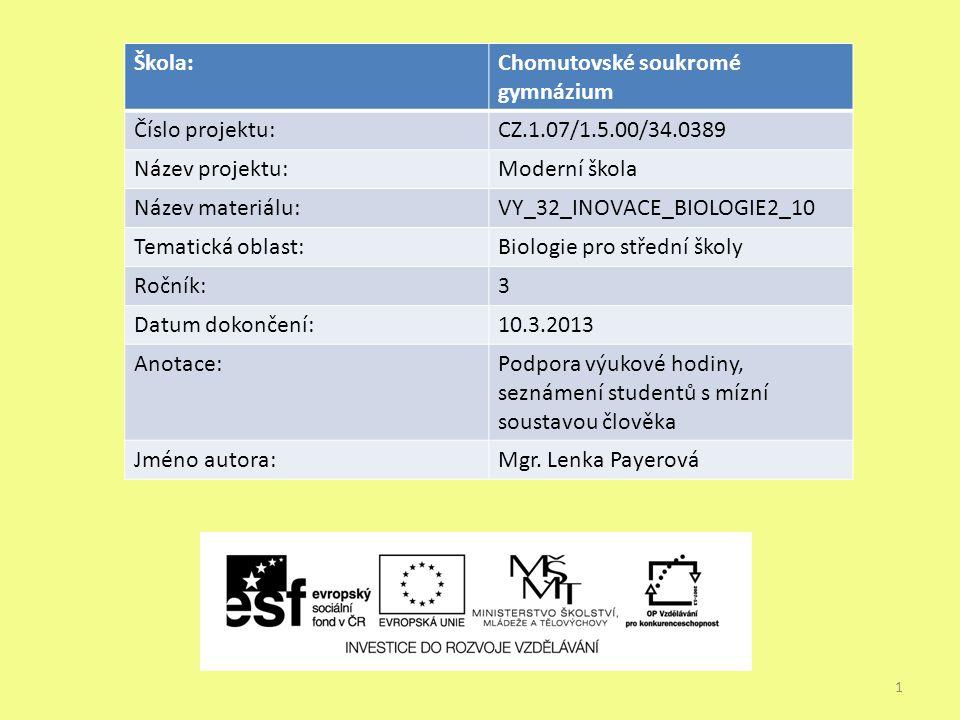 1 Škola:Chomutovské soukromé gymnázium Číslo projektu:CZ.1.07/1.5.00/34.0389 Název projektu:Moderní škola Název materiálu:VY_32_INOVACE_BIOLOGIE2_10 T