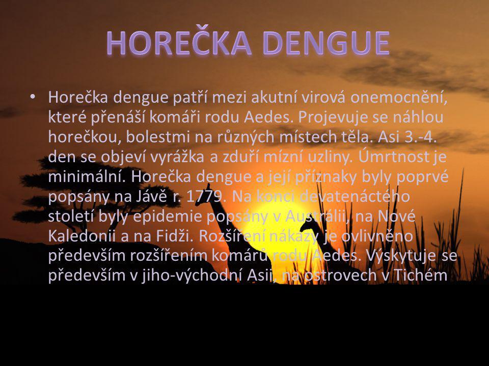 Horečka dengue patří mezi akutní virová onemocnění, které přenáší komáři rodu Aedes. Projevuje se náhlou horečkou, bolestmi na různých místech těla. A