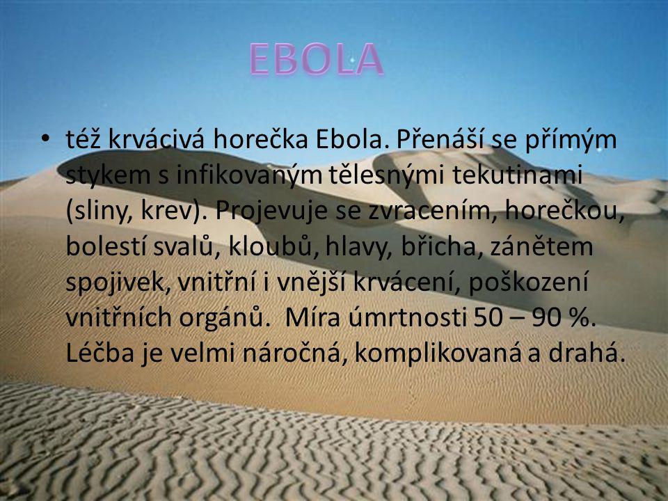 též krvácivá horečka Ebola. Přenáší se přímým stykem s infikovaným tělesnými tekutinami (sliny, krev). Projevuje se zvracením, horečkou, bolestí svalů