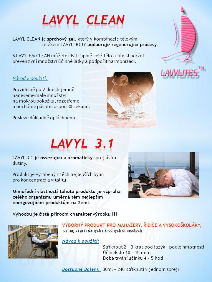 LAVYL CLEAN je sprchový gel, který v kombinaci s tělovým mlékem LAVYL BODY podporuje regenerující procesy. S LAVYLEM CLEAN můžete čistit úplně celé tě
