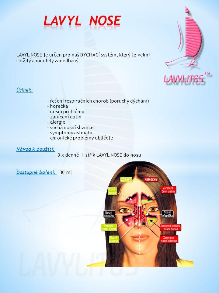 LAVYL NOSE je určen pro náš DÝCHACÍ systém, který je velmi složitý a mnohdy zanedbaný. Účinek: - řešení respiračních chorob (poruchy dýchání) - horečk