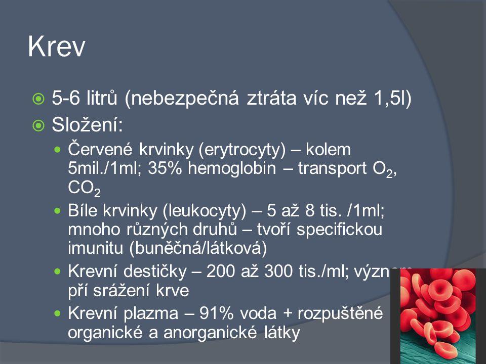 Krev  5-6 litrů (nebezpečná ztráta víc než 1,5l)  Složení: Červené krvinky (erytrocyty) – kolem 5mil./1ml; 35% hemoglobin – transport O 2, CO 2 Bíle krvinky (leukocyty) – 5 až 8 tis.
