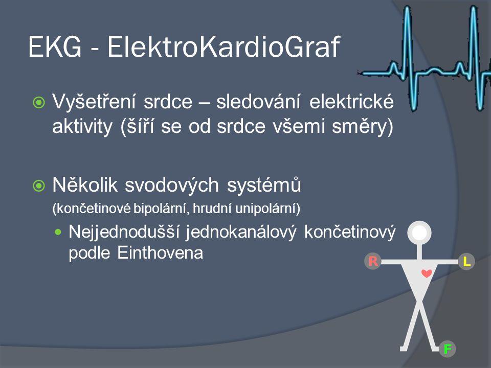 EKG - ElektroKardioGraf  Vyšetření srdce – sledování elektrické aktivity (šíří se od srdce všemi směry)  Několik svodových systémů (končetinové bipo