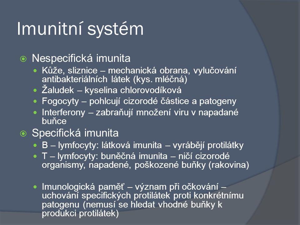 Imunitní systém  Nespecifická imunita Kůže, sliznice – mechanická obrana, vylučování antibakteriálních látek (kys.