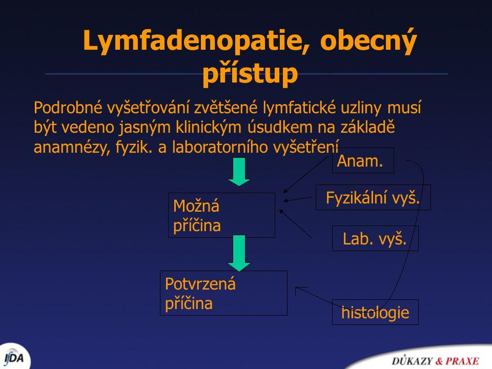 Lymfadenopatie, obecný přístup Podrobné vyšetřování zvětšené lymfatické uzliny musí být vedeno jasným klinickým úsudkem na základě anamnézy, fyzik. a