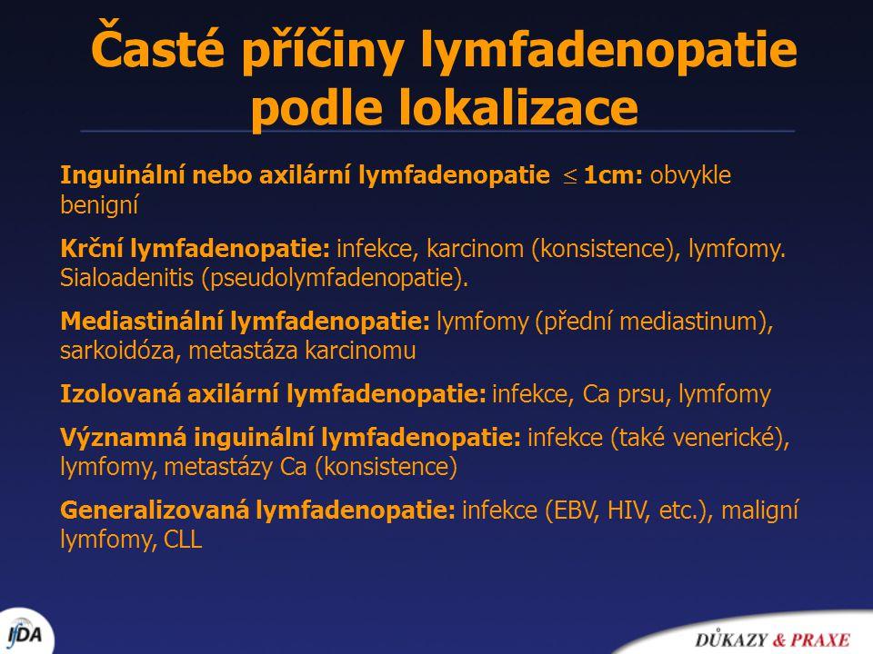 Časté příčiny lymfadenopatie podle lokalizace Inguinální nebo axilární lymfadenopatie  1cm: obvykle benigní Krční lymfadenopatie: infekce, karcinom (