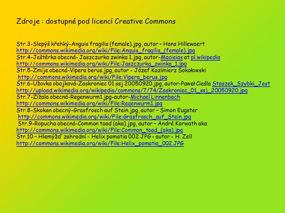 Zdroje : dostupné pod licencí Creative Commons Str.3-Slepýš křehký-Anguis fragilis (female).jpg, autor – Hans Hillewaert http://commons.wikimedia.org/