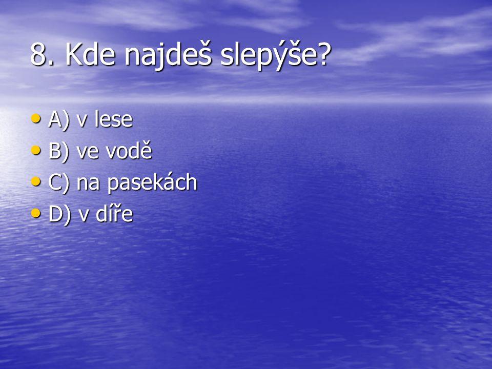 8. Kde najdeš slepýše? A) v lese A) v lese B) ve vodě B) ve vodě C) na pasekách C) na pasekách D) v díře D) v díře