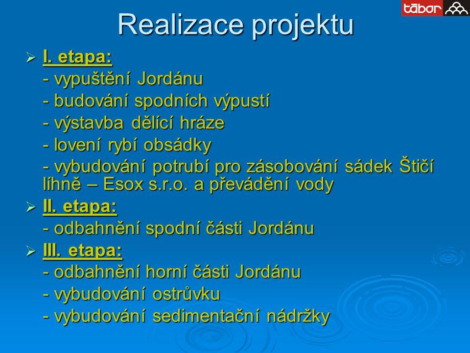 Realizace projektu  I. etapa: - vypuštění Jordánu - budování spodních výpustí - výstavba dělící hráze - lovení rybí obsádky - vybudování potrubí pro