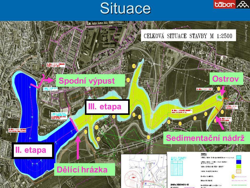 Situace Dělící hrázka Ostrov Spodní výpust Sedimentační nádrž II. etapa III. etapa