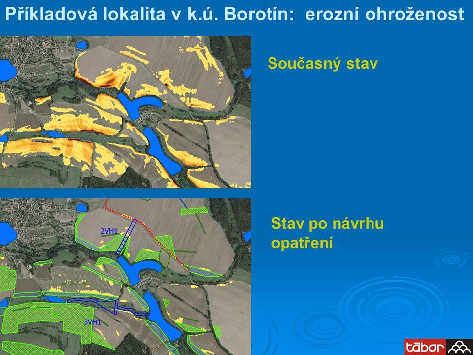 Příkladová lokalita v k.ú. Borotín: erozní ohroženost Současný stav Stav po návrhu opatření