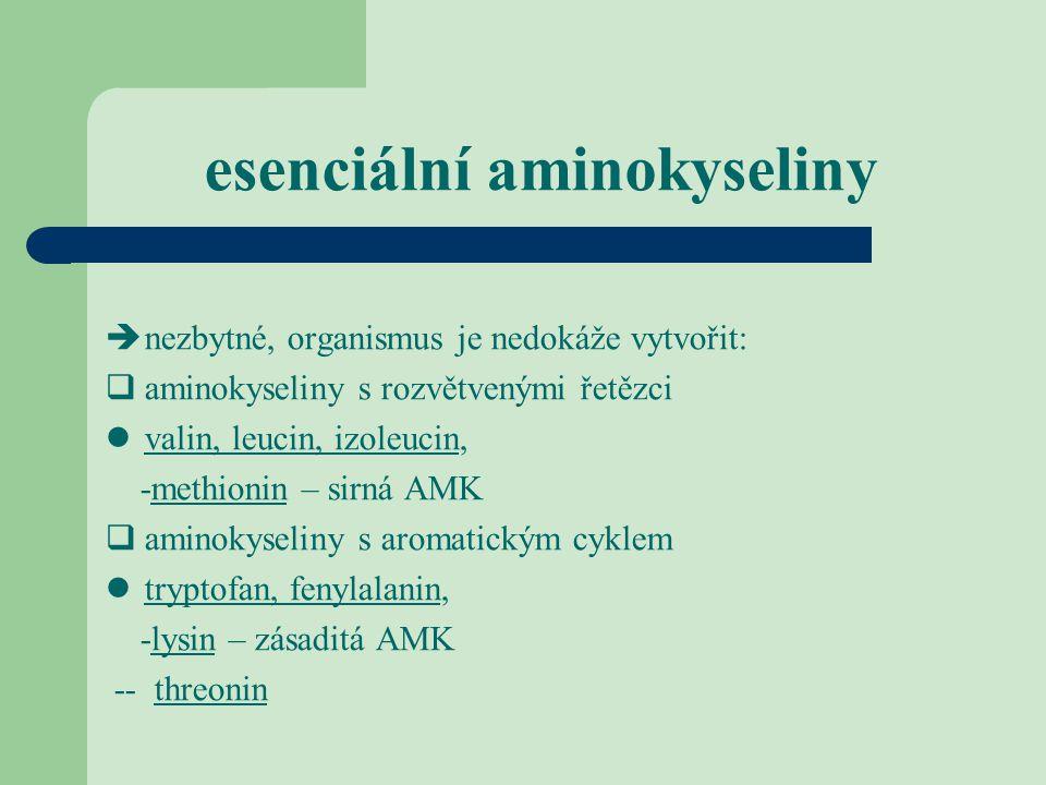 esenciální aminokyseliny  nezbytné, organismus je nedokáže vytvořit:  aminokyseliny s rozvětvenými řetězci valin, leucin, izoleucin, -methionin – si