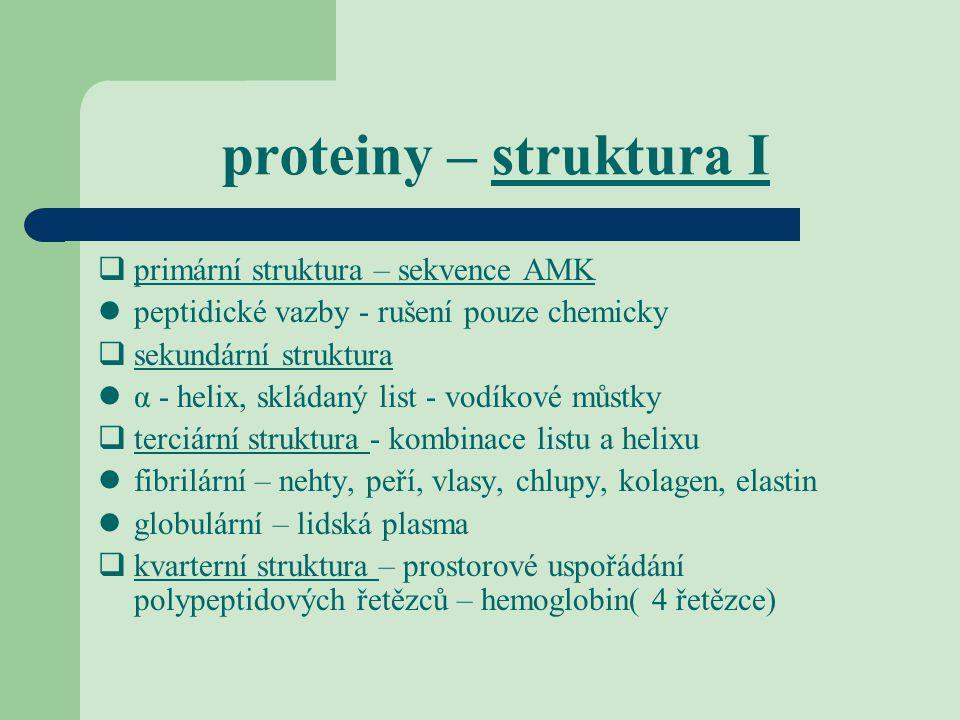 proteiny – struktura I  primární struktura – sekvence AMK peptidické vazby - rušení pouze chemicky  sekundární struktura α - helix, skládaný list -