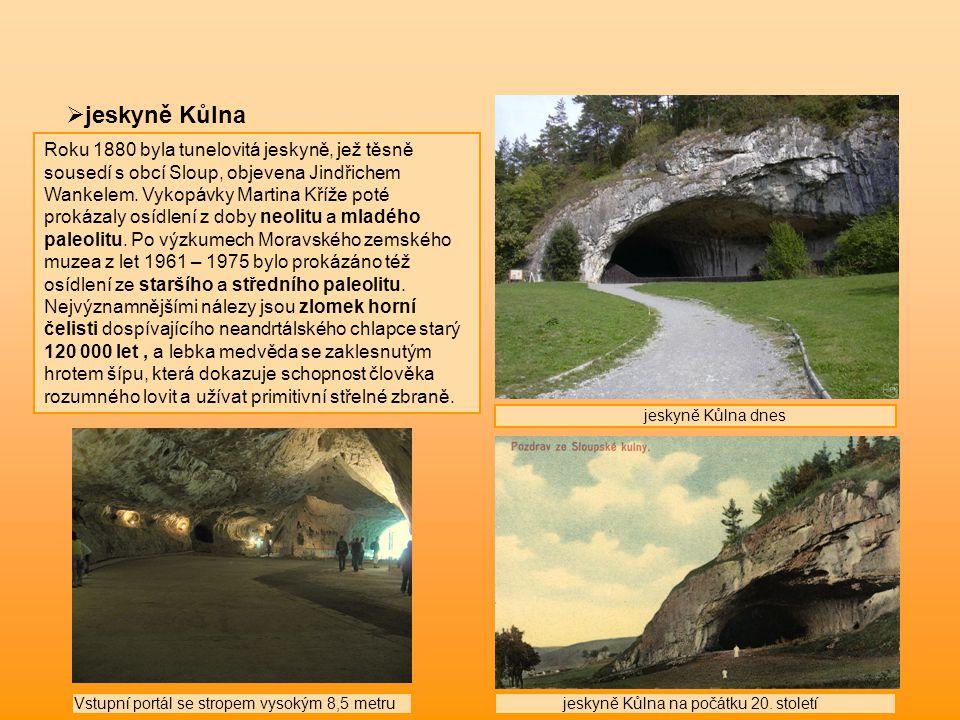  jeskyně Kůlna Roku 1880 byla tunelovitá jeskyně, jež těsně sousedí s obcí Sloup, objevena Jindřichem Wankelem. Vykopávky Martina Kříže poté prokázal