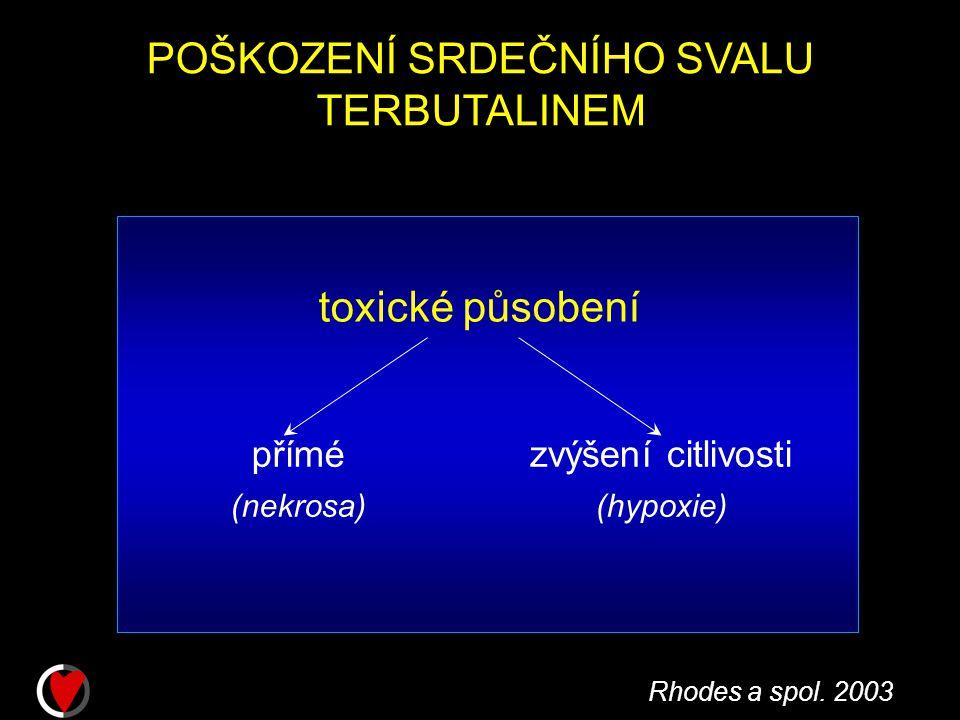 POŠKOZENÍ SRDEČNÍHO SVALU TERBUTALINEM toxické působení přímé (nekrosa) zvýšení citlivosti (hypoxie) Rhodes a spol.