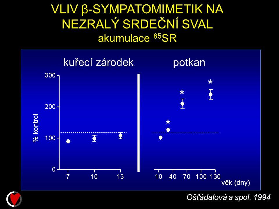 VLIV β-SYMPATOMIMETIK NA NEZRALÝ SRDEČNÍ SVAL akumulace 85 SR Ošťádalová a spol.