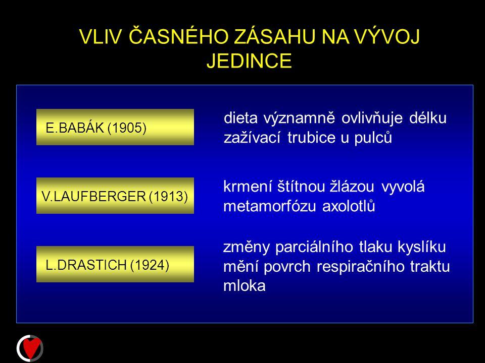 VLIV ČASNÉHO ZÁSAHU NA VÝVOJ JEDINCE E.BABÁK (1905) V.LAUFBERGER (1913) L.DRASTICH (1924) dieta významně ovlivňuje délku zažívací trubice u pulců krmení štítnou žlázou vyvolá metamorfózu axolotlů změny parciálního tlaku kyslíku mění povrch respiračního traktu mloka