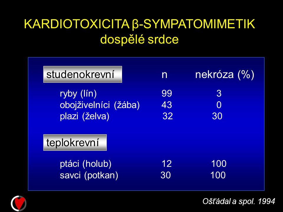 KARDIOTOXICITA β-SYMPATOMIMETIK dospělé srdce studenokrevní ryby (lín) 99 3 obojživelníci (žába) 43 0 plazi (želva) 32 30 Ošťádal a spol.