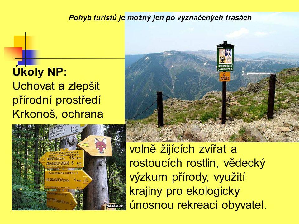 Úkoly NP: Uchovat a zlepšit přírodní prostředí Krkonoš, ochrana volně žijících zvířat a rostoucích rostlin, vědecký výzkum přírody, využití krajiny pr