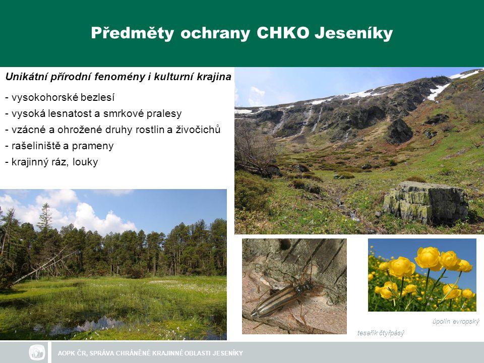 AOPK ČR, SPRÁVA CHRÁNĚNÉ KRAJINNÉ OBLASTI JESENÍKY Prostředky na ochranu přírody
