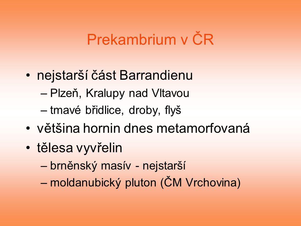 Prekambrium v ČR nejstarší část Barrandienu –Plzeň, Kralupy nad Vltavou –tmavé břidlice, droby, flyš většina hornin dnes metamorfovaná tělesa vyvřelin