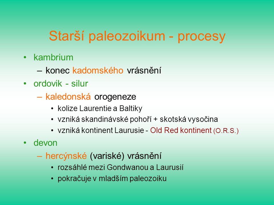 Starší paleozoikum - procesy kambrium –konec kadomského vrásnění ordovik - silur –kaledonská orogeneze kolize Laurentie a Baltiky vzniká skandinávské