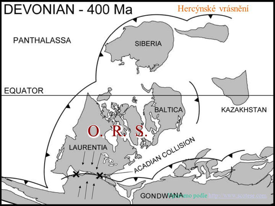 Hercýnské vrásnění O. R. S. Upraveno podle http://www.scotese.comhttp://www.scotese.com