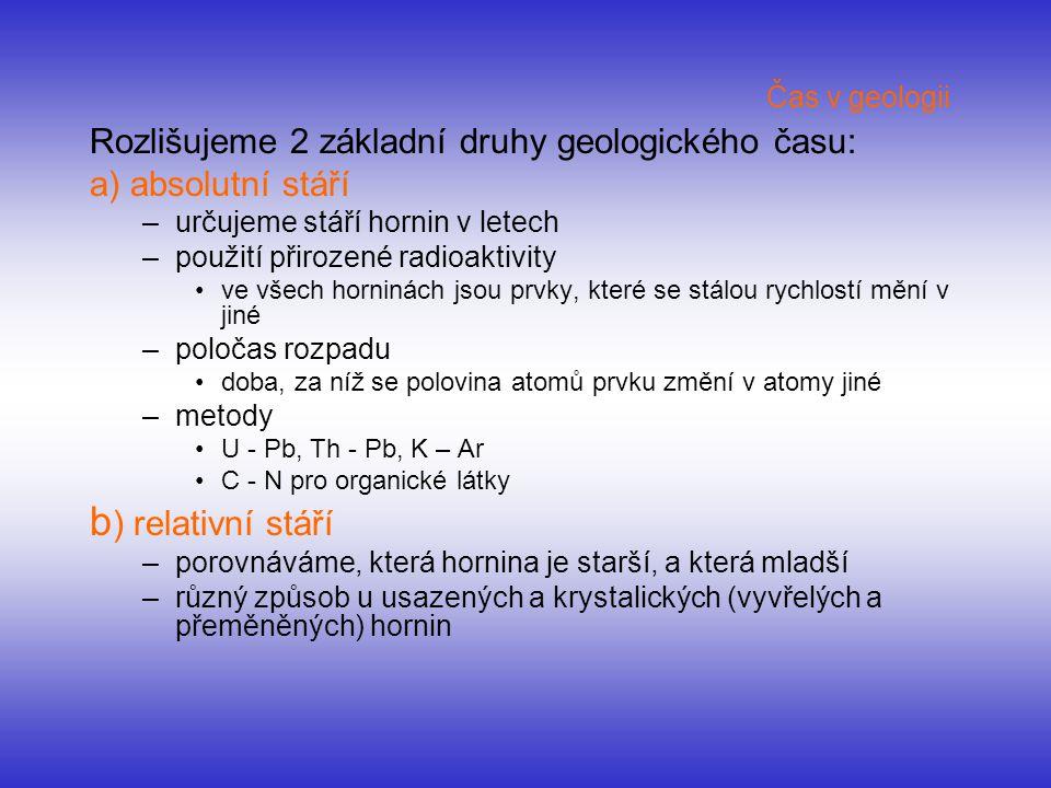 Čas v geologii Rozlišujeme 2 základní druhy geologického času: a) absolutní stáří –určujeme stáří hornin v letech –použití přirozené radioaktivity ve
