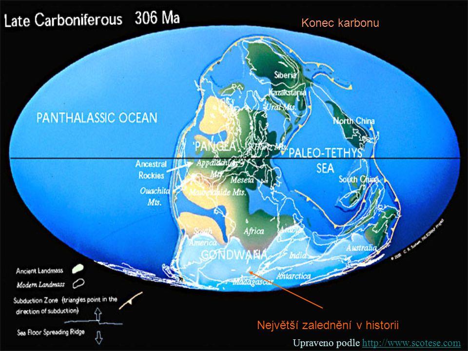 Největší zalednění v historii Konec karbonu Upraveno podle http://www.scotese.comhttp://www.scotese.com