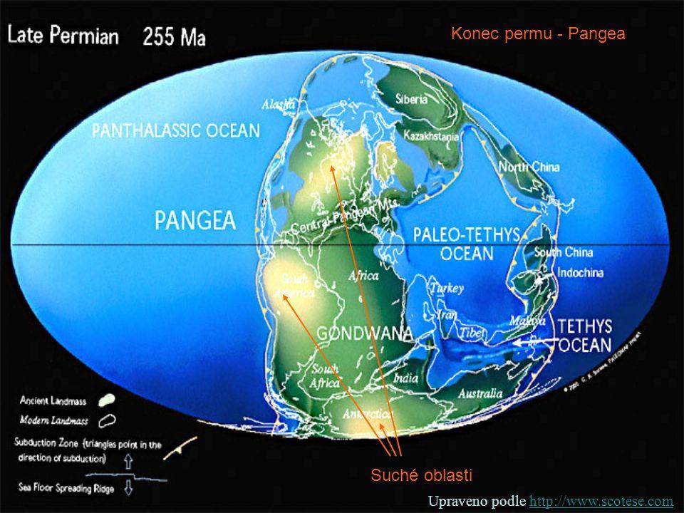 Konec permu - Pangea Suché oblasti Upraveno podle http://www.scotese.comhttp://www.scotese.com