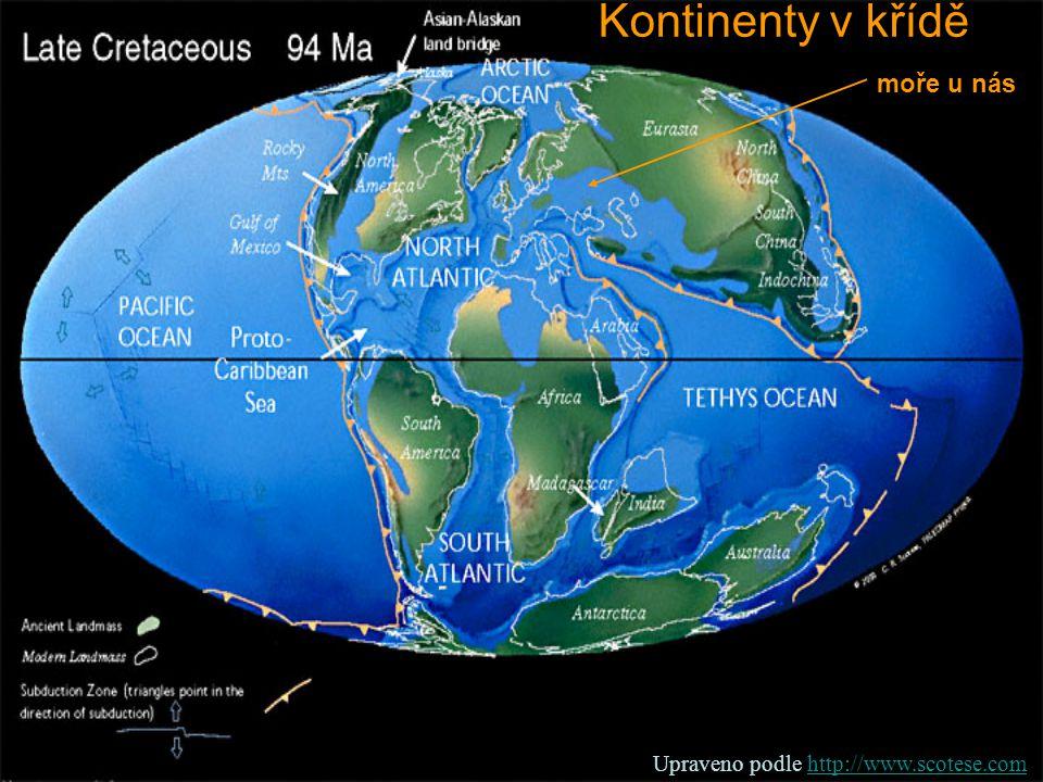 Kontinenty v křídě moře u nás Upraveno podle http://www.scotese.comhttp://www.scotese.com
