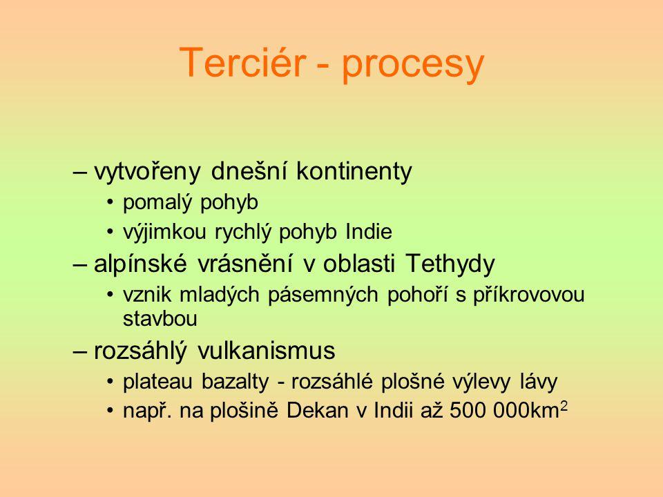 Terciér - procesy –vytvořeny dnešní kontinenty pomalý pohyb výjimkou rychlý pohyb Indie –alpínské vrásnění v oblasti Tethydy vznik mladých pásemných p