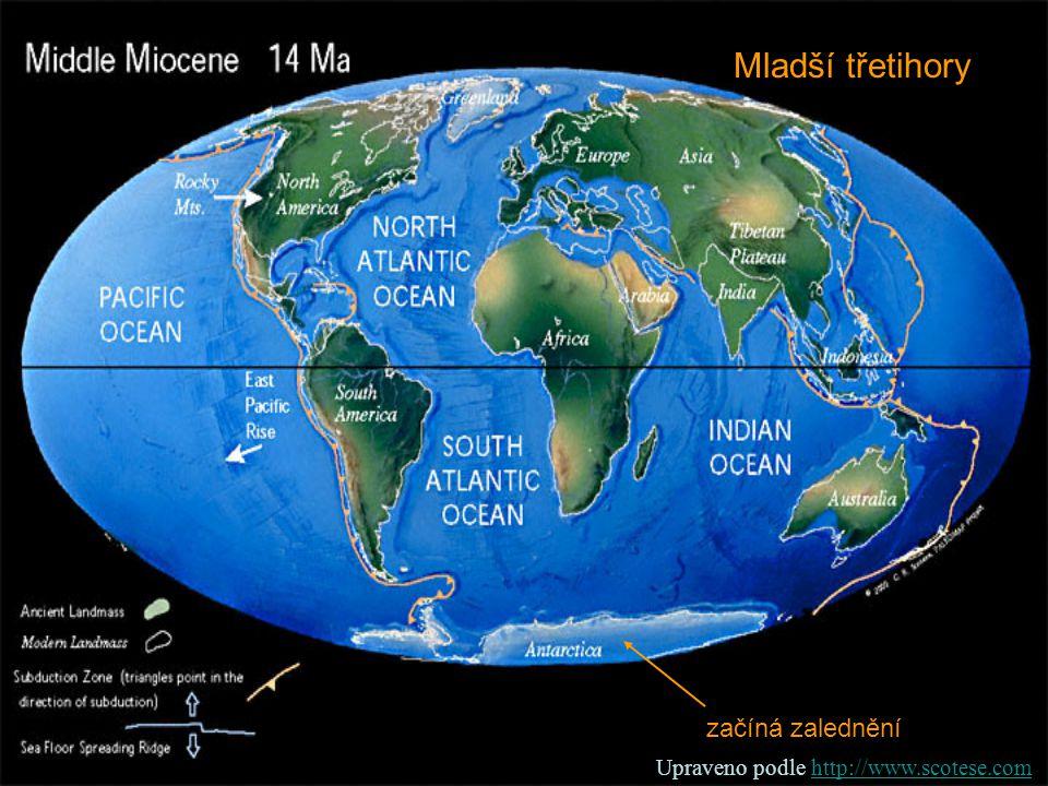 Mladší třetihory začíná zalednění Upraveno podle http://www.scotese.comhttp://www.scotese.com