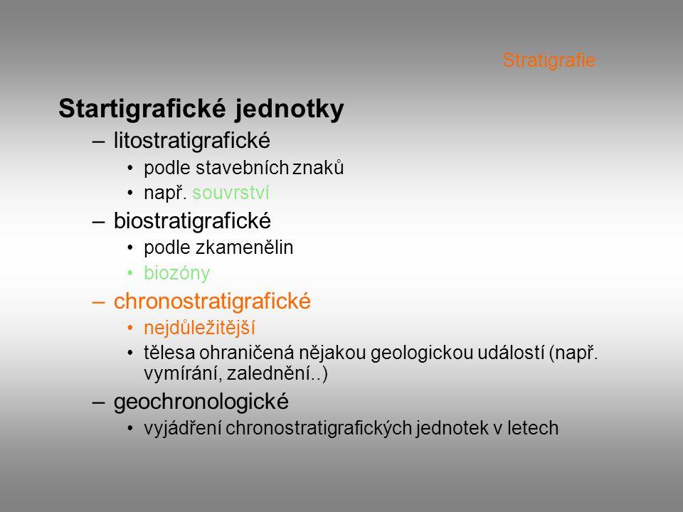 Stratigrafie Startigrafické jednotky –litostratigrafické podle stavebních znaků např. souvrství –biostratigrafické podle zkamenělin biozóny –chronostr