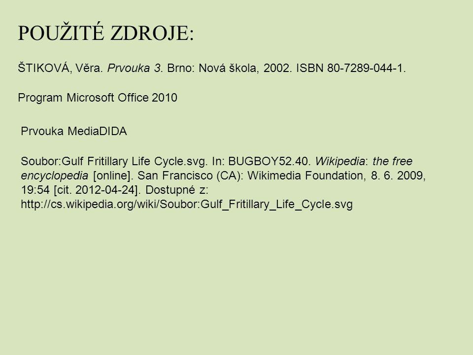 Program Microsoft Office 2010 ŠTIKOVÁ, Věra. Prvouka 3. Brno: Nová škola, 2002. ISBN 80-7289-044-1. POUŽITÉ ZDROJE: Prvouka MediaDIDA Soubor:Gulf Frit