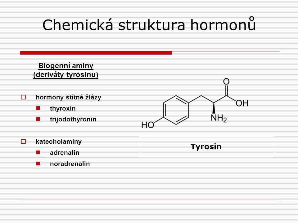 Chemická struktura hormonů Biogenní aminy (deriváty tyrosinu)  hormony štítné žlázy thyroxin trijodothyronin  katecholaminy adrenalin noradrenalin Tyrosin