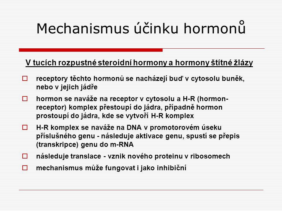 Mechanismus účinku hormonů V tucích rozpustné steroidní hormony a hormony štítné žlázy  receptory těchto hormonů se nacházejí buď v cytosolu buněk, nebo v jejich jádře  hormon se naváže na receptor v cytosolu a H-R (hormon- receptor) komplex přestoupí do jádra, případně hormon prostoupí do jádra, kde se vytvoří H-R komplex  H-R komplex se naváže na DNA v promotorovém úseku příslušného genu - následuje aktivace genu, spustí se přepis (transkripce) genu do m-RNA  následuje translace - vznik nového proteinu v ribosomech  mechanismus může fungovat i jako inhibiční
