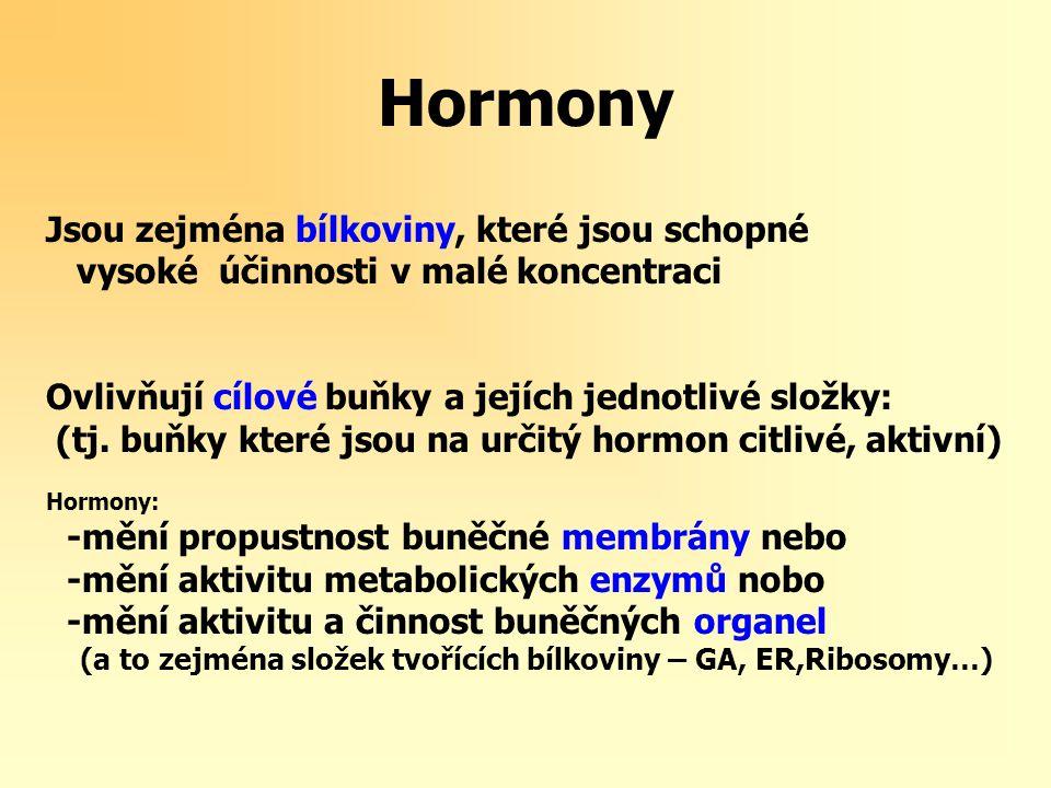 Hormony Jsou zejména bílkoviny, které jsou schopné vysoké účinnosti v malé koncentraci Ovlivňují cílové buňky a jejích jednotlivé složky: (tj.
