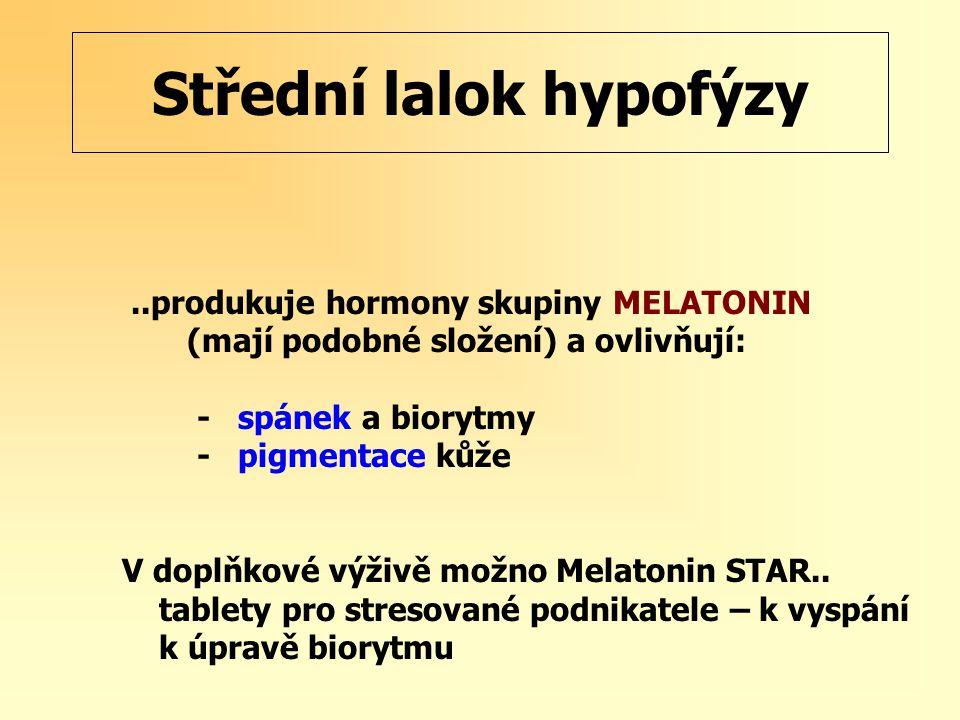 Střední lalok hypofýzy..produkuje hormony skupiny MELATONIN (mají podobné složení) a ovlivňují: - spánek a biorytmy - pigmentace kůže V doplňkové výživě možno Melatonin STAR..