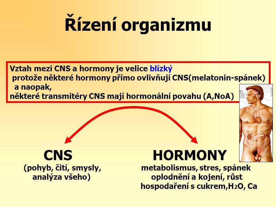 Řízení organizmu - buňky CNS HORMONY (pohyb, čití, smysly, metabolismus, stres, spánek analýza všeho) oplodnění a kojení, růst hospodaření s cukrem,H 2 O, Ca BUŇKY: chemoreceptory 1.
