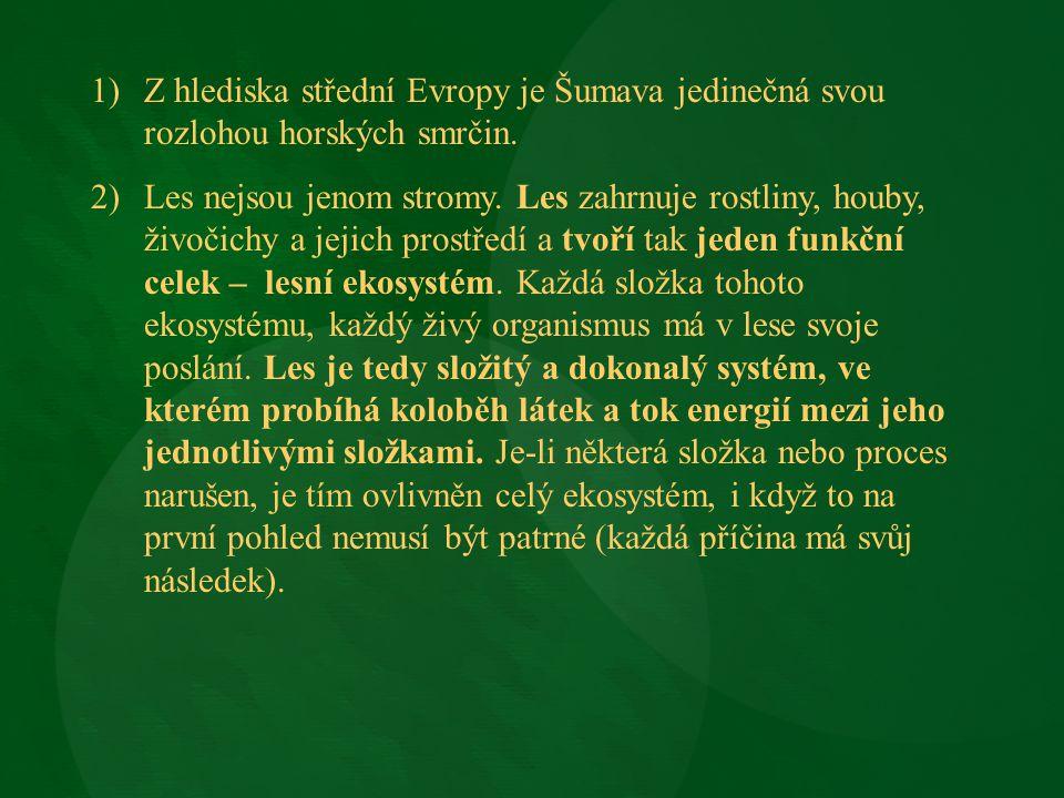 1)Z hlediska střední Evropy je Šumava jedinečná svou rozlohou horských smrčin. 2)Les nejsou jenom stromy. Les zahrnuje rostliny, houby, živočichy a je