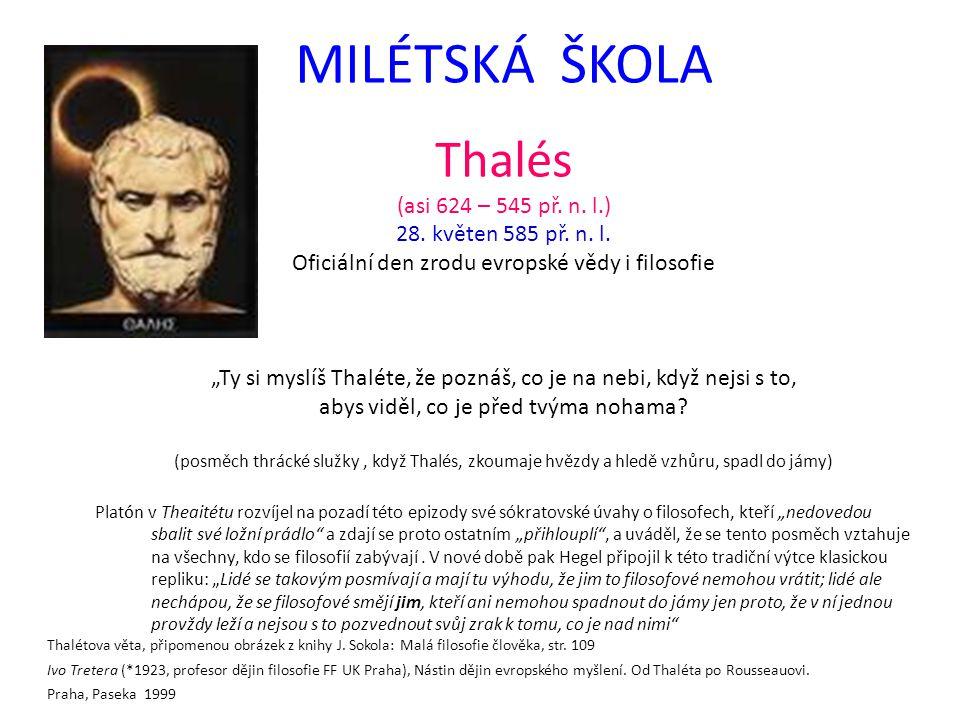 MILÉTSKÁ ŠKOLA Thalés (asi 624 – 545 př. n. l.) 28.